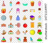 Abc Icons Set. Cartoon Style O...