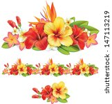 garland of of tropical flowers | Shutterstock .eps vector #147113219