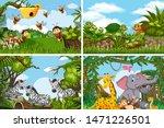 set of various animals in... | Shutterstock .eps vector #1471226501