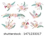pastel bouquet set with flower... | Shutterstock .eps vector #1471233317