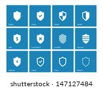 shield icons on blue background.... | Shutterstock .eps vector #147127484