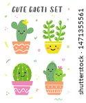 Cute Cacti Set. Happy Bright...