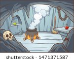 cartoon witch cave background... | Shutterstock .eps vector #1471371587