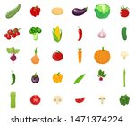 set of vegetables isolated on...   Shutterstock . vector #1471374224