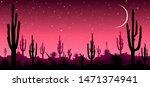 desert  cacti  stars night.... | Shutterstock .eps vector #1471374941