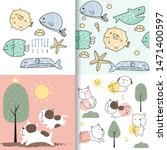 cute baby fish and dog seamless ... | Shutterstock .eps vector #1471400597