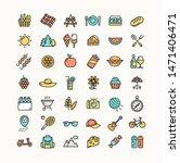 picnic color thin line icon set ...
