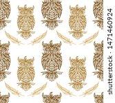 forest owls vector seamless... | Shutterstock .eps vector #1471460924