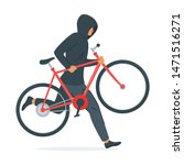 criminal stealing bicycle... | Shutterstock .eps vector #1471516271