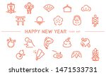New Year Illustration  Icon Se...