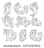 vector set with cute little... | Shutterstock .eps vector #1471537421
