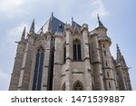 Architectural fragments of Sainte-Chapelle (Holy Chapel, 1379) in Vincennes. Vincennes (6.7 km from Paris), Val-de-Marne department, France.