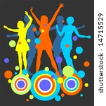 female dancing silhouettes and... | Shutterstock . vector #14715529
