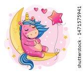 a cute cartoon unicorn is... | Shutterstock . vector #1471575941