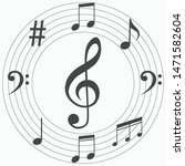 musical notes vector background ... | Shutterstock .eps vector #1471582604