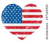 Usa America Retro Heart Flag  ...