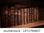 Antique Books On Old Wooden...