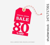 80  off sale discount price tag ... | Shutterstock .eps vector #1471717301