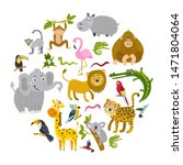 set of tropical animals in a... | Shutterstock .eps vector #1471804064