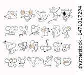 big set with cute mouse and...   Shutterstock .eps vector #1471817294