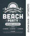retro summer party design... | Shutterstock .eps vector #147182591