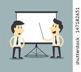 businessman presenting  white... | Shutterstock .eps vector #147182651