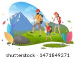 hiking man and woman with son ... | Shutterstock .eps vector #1471849271