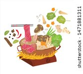 hot pot is a chinese cuisine or ... | Shutterstock .eps vector #1471881311