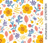 floral seamless pattern with... | Shutterstock .eps vector #1471907834