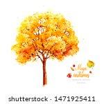 Autumn Tree. Watercolor Tree....