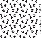 traces of dog and bones. black... | Shutterstock .eps vector #147193811