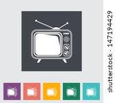 Tv Single Flat Icon. Vector...