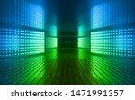 3d Render  Blue Green Neon...