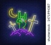 graveyard with devil horn...   Shutterstock .eps vector #1471994387