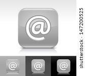 at sign gray glossy icon....