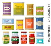 canned food on the white... | Shutterstock .eps vector #1472028764
