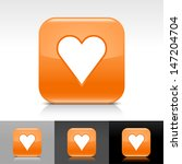 heart sign orange glossy icon....