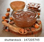 chocolate paste in a glass bowl ... | Shutterstock . vector #147205745