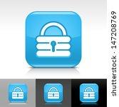 padlock icon set. blue glossy...