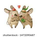 Couple Of Christmas Mice With...