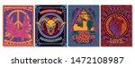 psychedelic art posters  1960s  ... | Shutterstock .eps vector #1472108987
