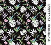 tropical plants leaves and... | Shutterstock .eps vector #1472122307