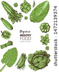 vegetables top view frame.... | Shutterstock .eps vector #1472139374