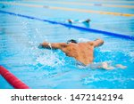 athletic man swimming in... | Shutterstock . vector #1472142194