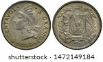 Dominican Republic silver coin 5 five centavos 1944, Liberty head in Indian dress left, shield with book in front of crossed flags flanked by sprigs,