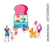 happy families in summer cafe... | Shutterstock .eps vector #1472154167