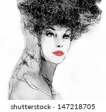 fashion woman. hand painted... | Shutterstock . vector #147218705