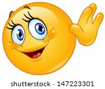 female emoticon waving hello | Shutterstock .eps vector #147223301