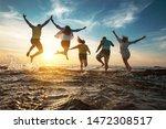 Five Happy Friends Runs And...