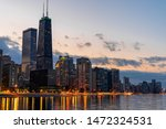 Chicago Cityscape River Side At ...